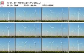 高清实拍视频丨蓝天下的田野里伫立着转动的风力发电机