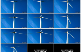 4K实拍视频素材丨仰拍湛蓝天空下一具随风转动的风力发电机