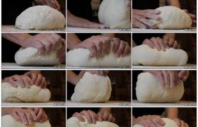 4K实拍视频素材丨特写厨师双手揉搓面团和面