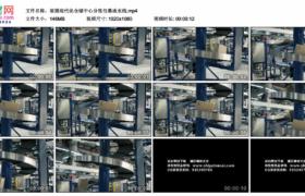 高清实拍视频素材丨摇摄现代化仓储中心分拣包裹传送带