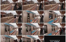 高清实拍视频素材丨日本交通 列车行驶进车站候车的乘客上车