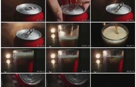 4K实拍视频素材丨多角度拍摄打开罐装可乐做冰镇可乐