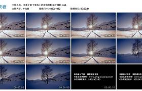 高清实拍视频素材丨冬季夕阳下雪地上的树的倒影延时摄影