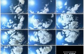 4K实拍视频素材丨晴朗的天空中太阳照射白云流动延时摄影