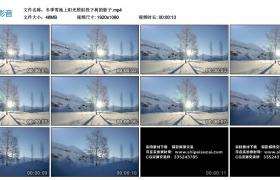 高清实拍视频素材丨冬季雪地上阳光照射投下树的影子