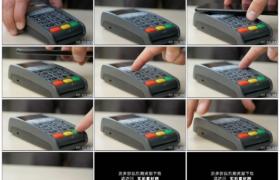 4K实拍视频素材丨特写顾客使用带NFC技术的手机付款