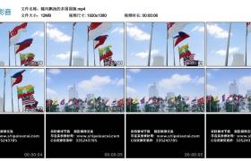 【高清实拍素材】随风飘扬的多国国旗