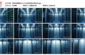 4K实拍视频素材丨滑轨拍摄数据中心灯光闪烁的服务器机房
