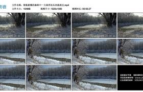 高清实拍视频丨银装素裹的森林中一大块浮冰从河流流过