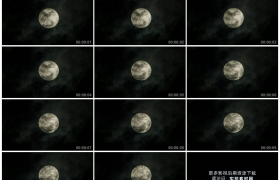 高清实拍视频素材丨夜空中乌云从一轮满月前飘过