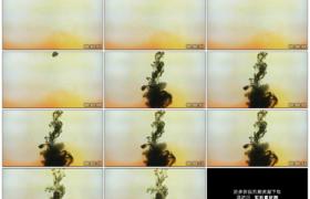 4K实拍视频素材丨黑色的墨水滴落到黄色的液体中扩散混合