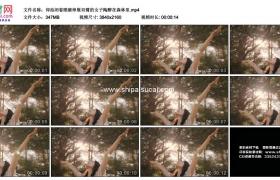 4K实拍视频素材丨仰拍闭着眼睛伸展双臂的女子陶醉在森林里