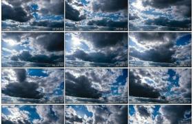 高清实拍视频素材丨阳光透过流动的乌云照射下来延时摄影