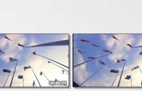 [高清实拍素材]仰拍各国旗帜