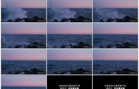 高清实拍视频素材丨海浪撞击礁石溅起浪花