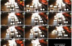 高清实拍视频素材丨夜晚城市道路上车流灯光散景