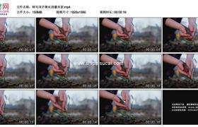 高清实拍视频素材丨特写双手捧水浇灌禾苗