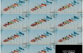 4K实拍视频素材丨仰拍晴天阳光照射下世界各国国旗在风中飘扬
