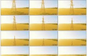 4K实拍视频素材丨航拍平原上的高压线塔架