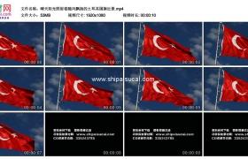 高清实拍视频素材丨晴天阳光照射着随风飘扬的土耳其国旗近景
