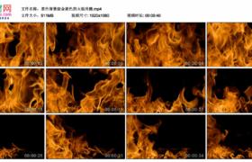 高清实拍视频素材丨黑色背景前金黄色的火焰升腾